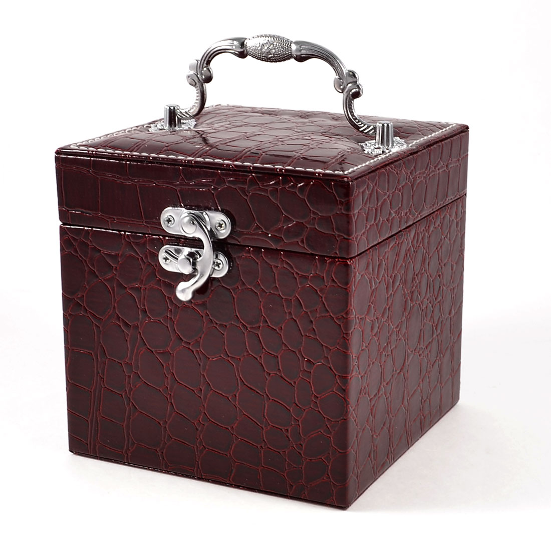 Ladies Crocodile Print Flannel Lining Square Jewelry Box Burgundy