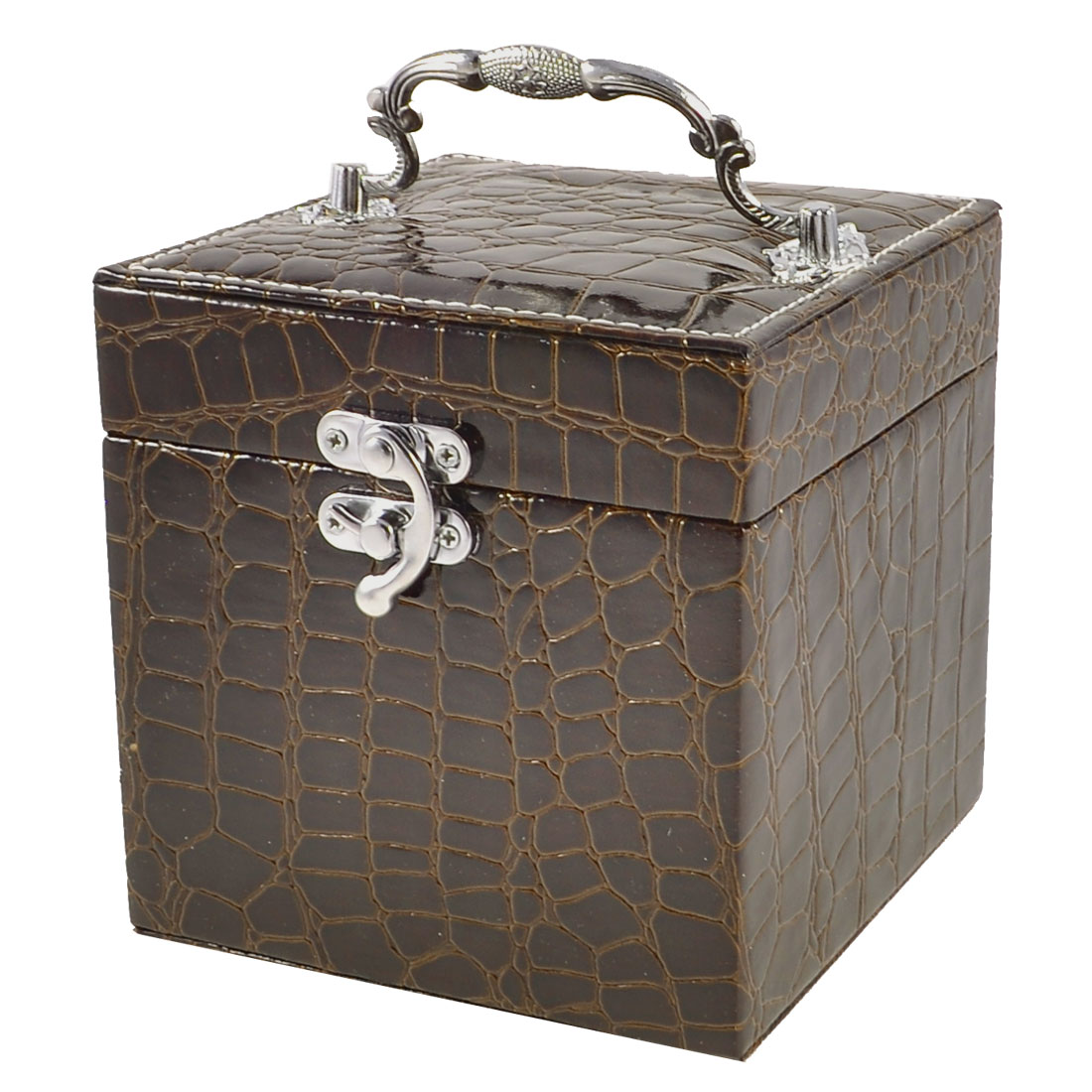Lady Crocodile Print Faux Leather Cosmetic Holder Jewelry Box Dark Brown