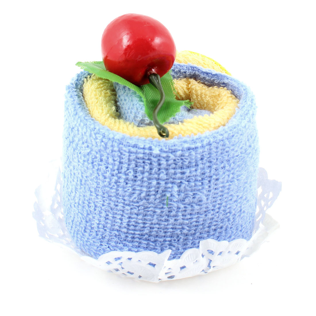Cherry Decor Yellow Light Blue Square Shape Terry Cloth Towels 2 Pcs