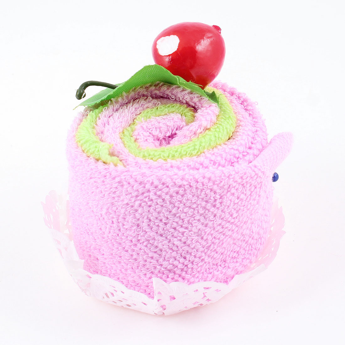 Traveling Pink Green Yellow Cherry Decor Square Face Cleaning Towels 2 Pcs