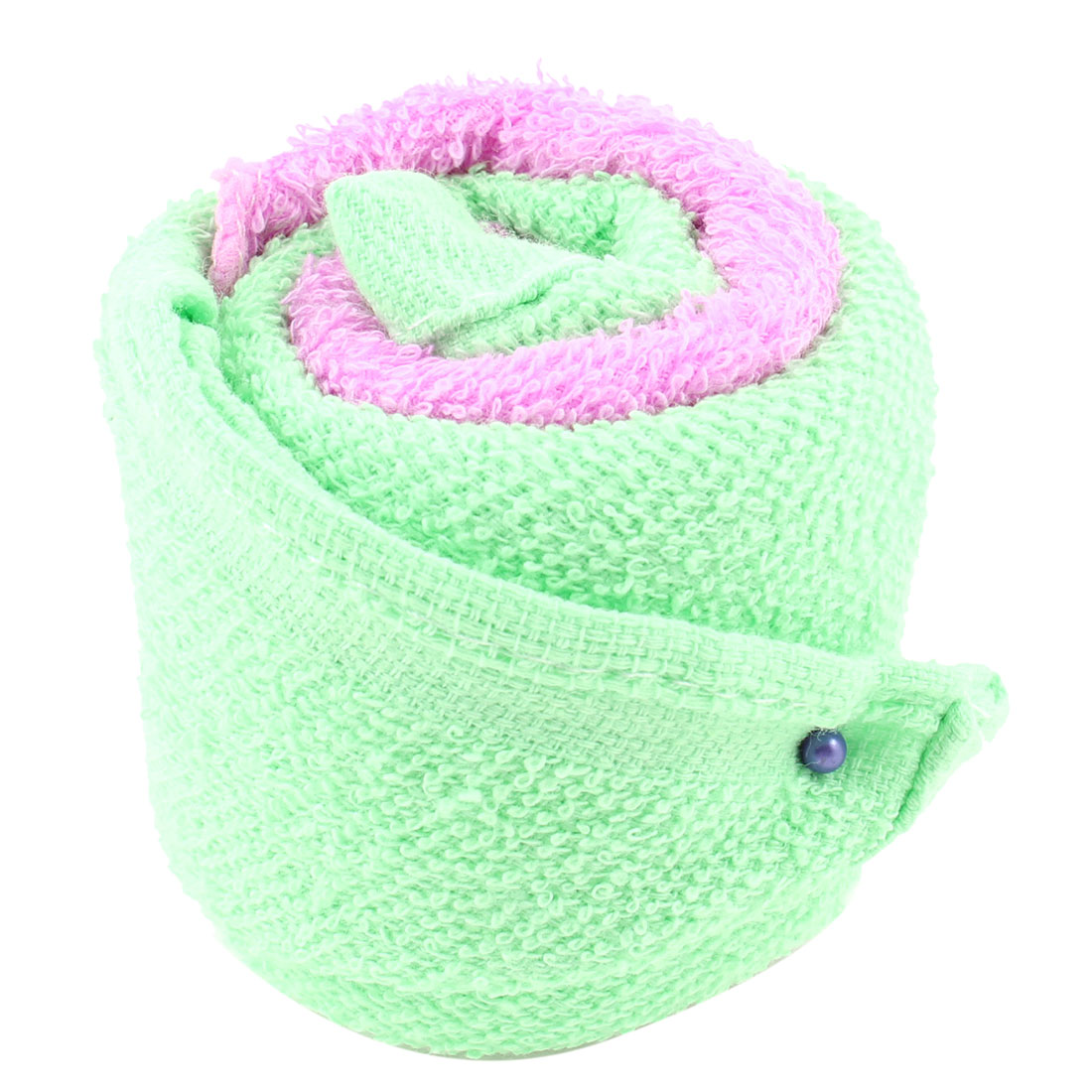 Travel Green Pink Square Shape Terry Wash Cloth Face Towels 2 Pcs