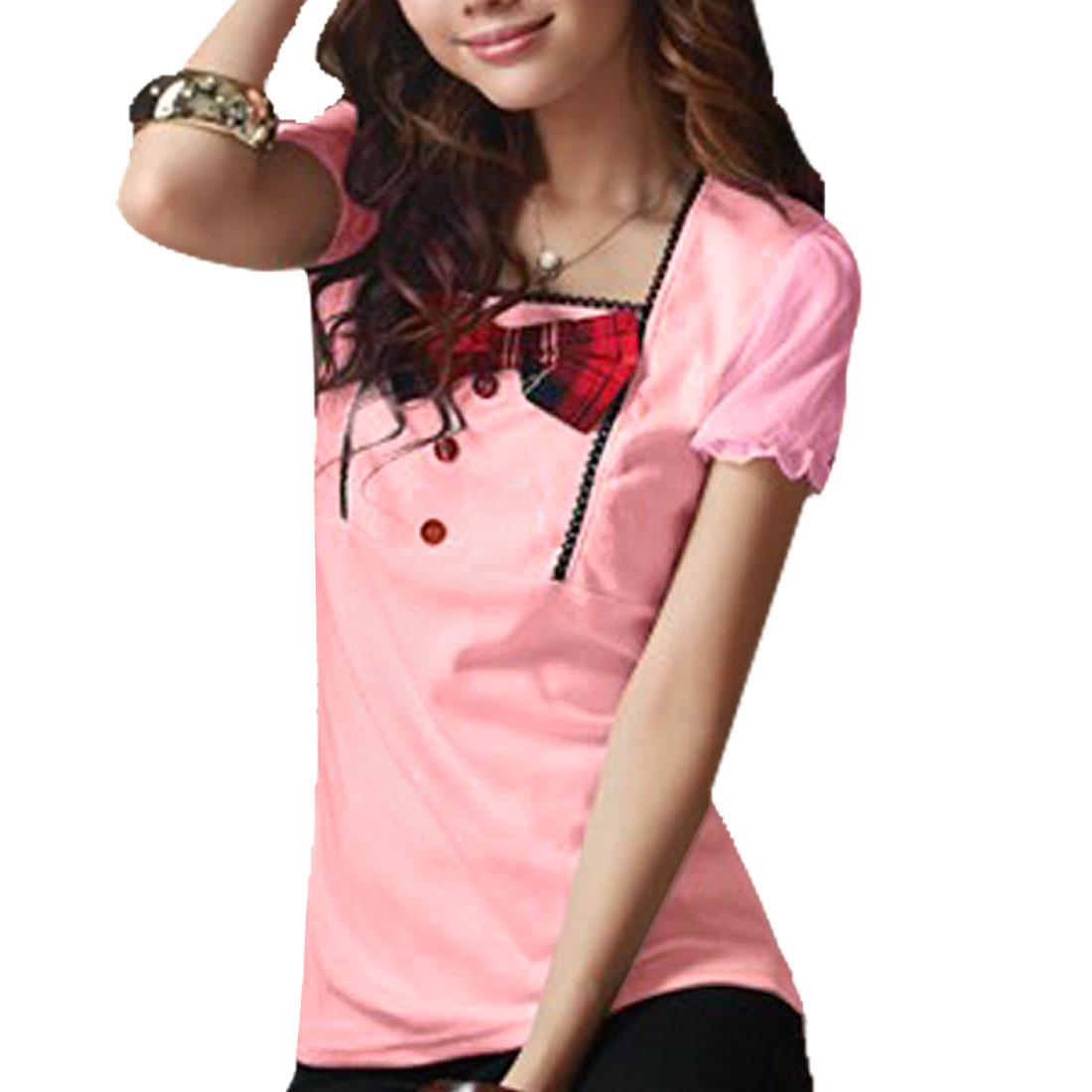 Bowknot Decor Front Square Neck T-shirt Light Pink XS for Ladies