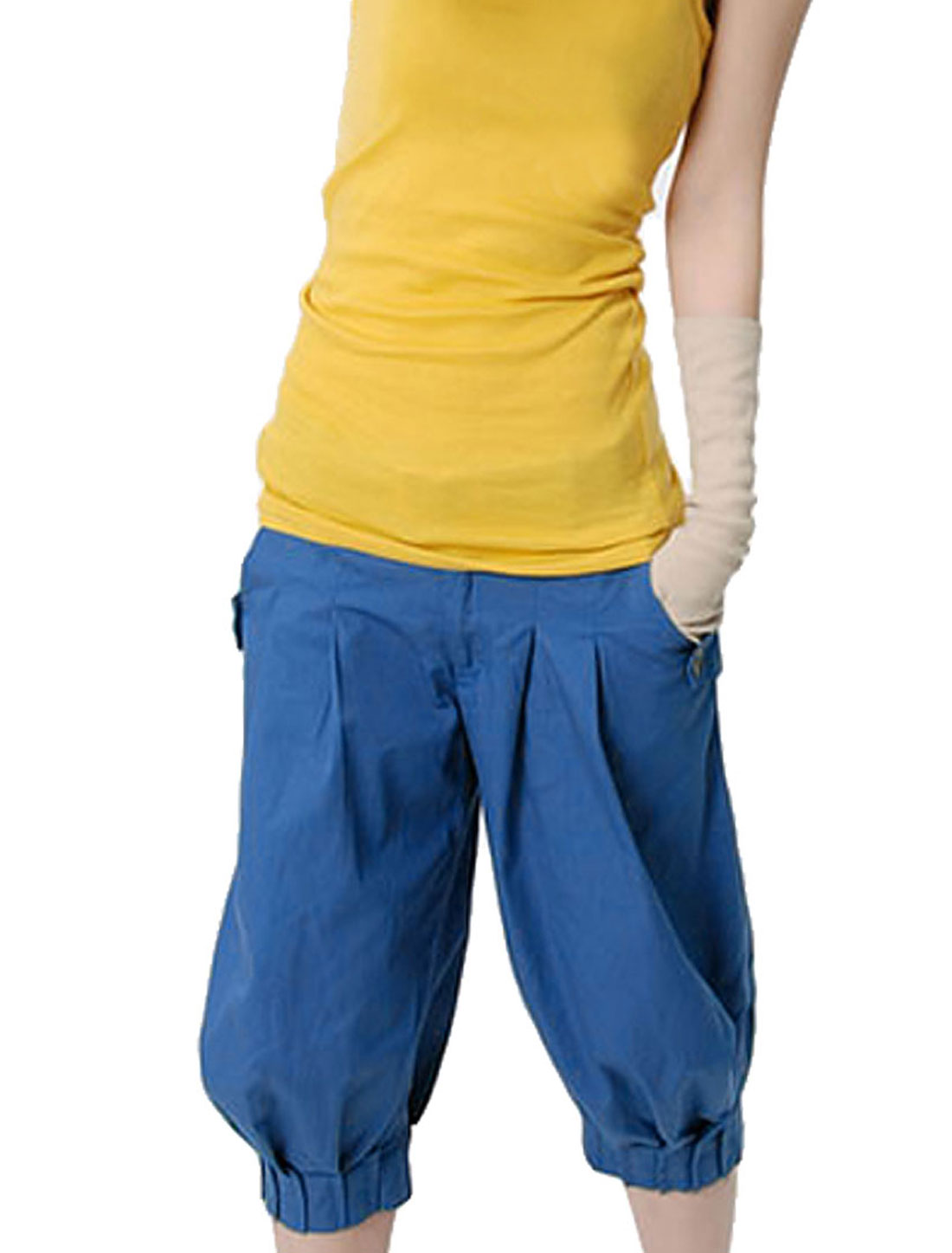 Blue Two Pocket Belt Loop Loose Leisure Capris Pants XS for Ladies