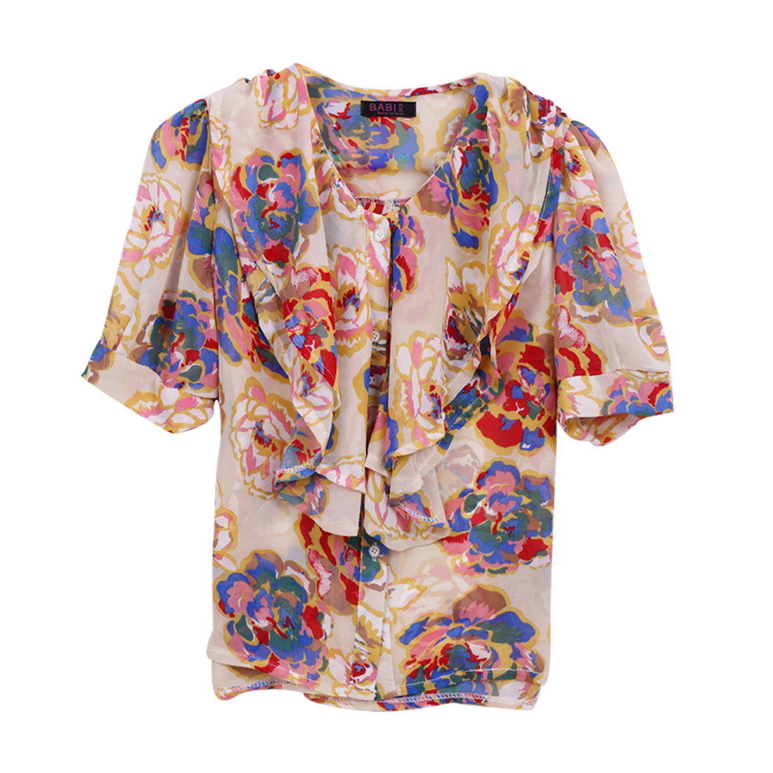 Women Colorful Flowers Embellished Leisure Loose Chiffon Blouse XS See Through