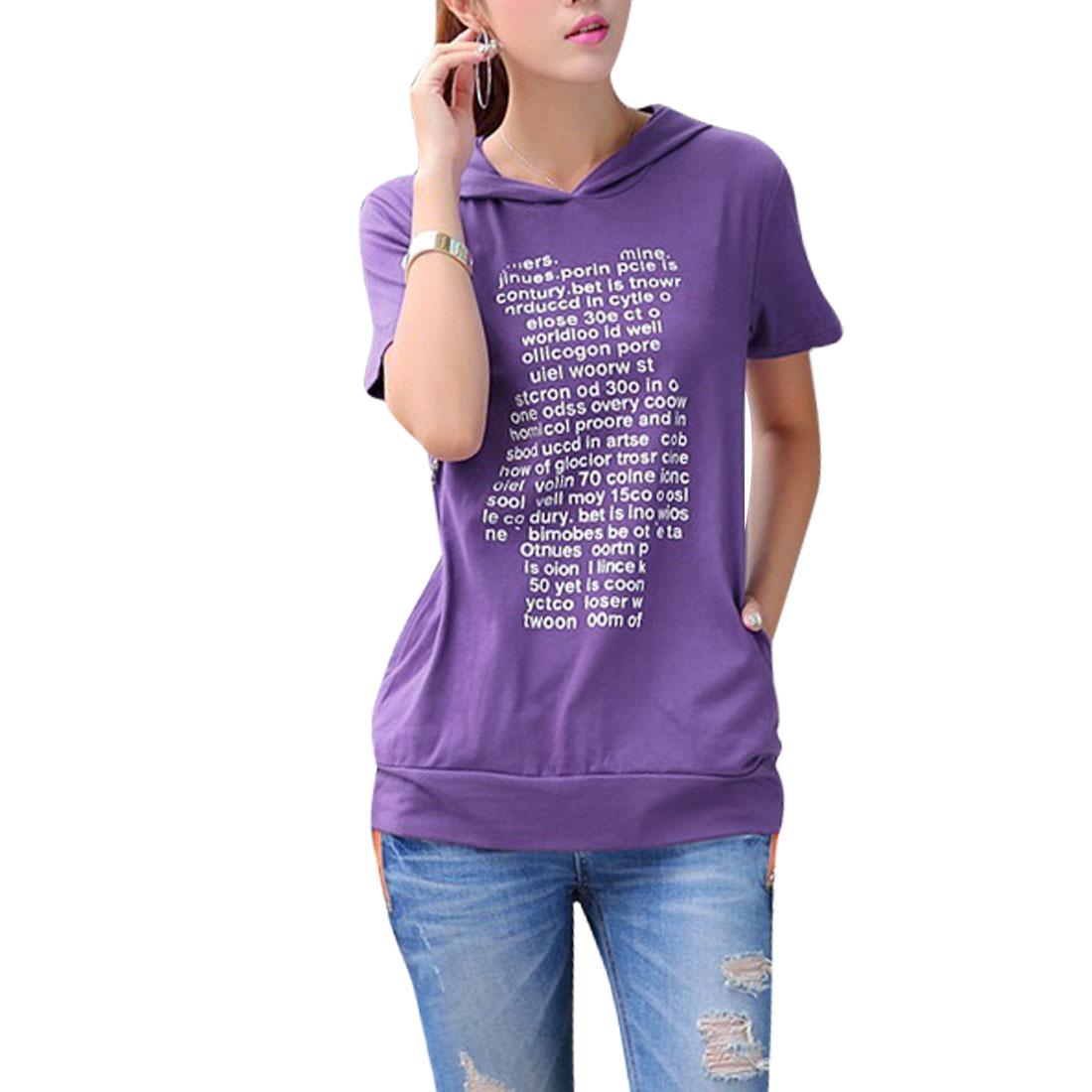Ladies Two Pocket Letters Bear Print Leisure Hoodie Shirt Purple XS