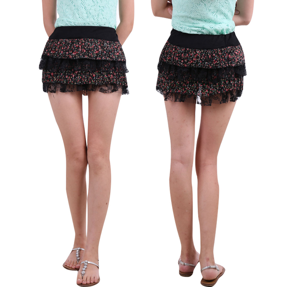 Ladies Black Elastic Band Waist Flower Lace Layered Mini Skirt XS