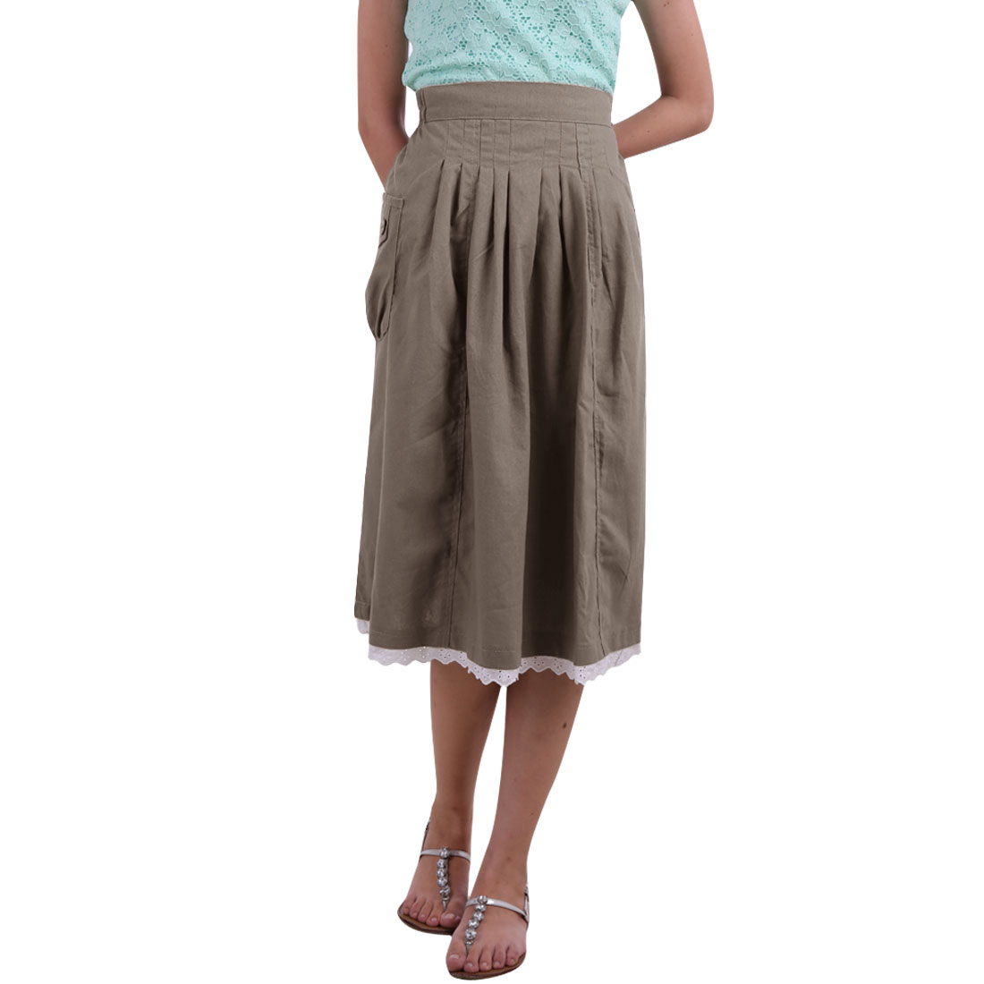 S Zip Fly Closure Two Side Pockets A-Line Flower Trim Skirt Khaki for Ladies