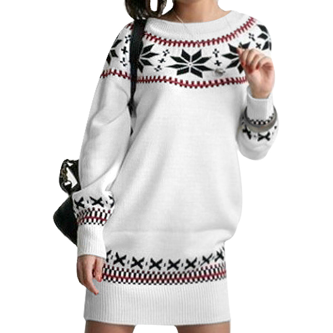 Ladies Snowflake Print Round Neck Long Sleeves Pullover Sweater White XS