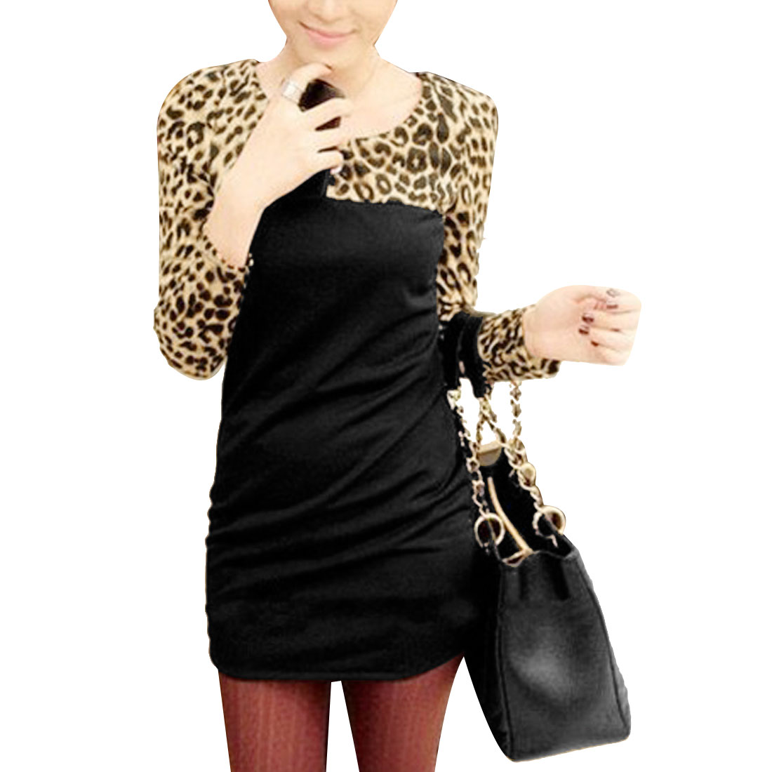 Leopard Pattern Round Neck Long Sleeves Black XS Mini Dress for Women