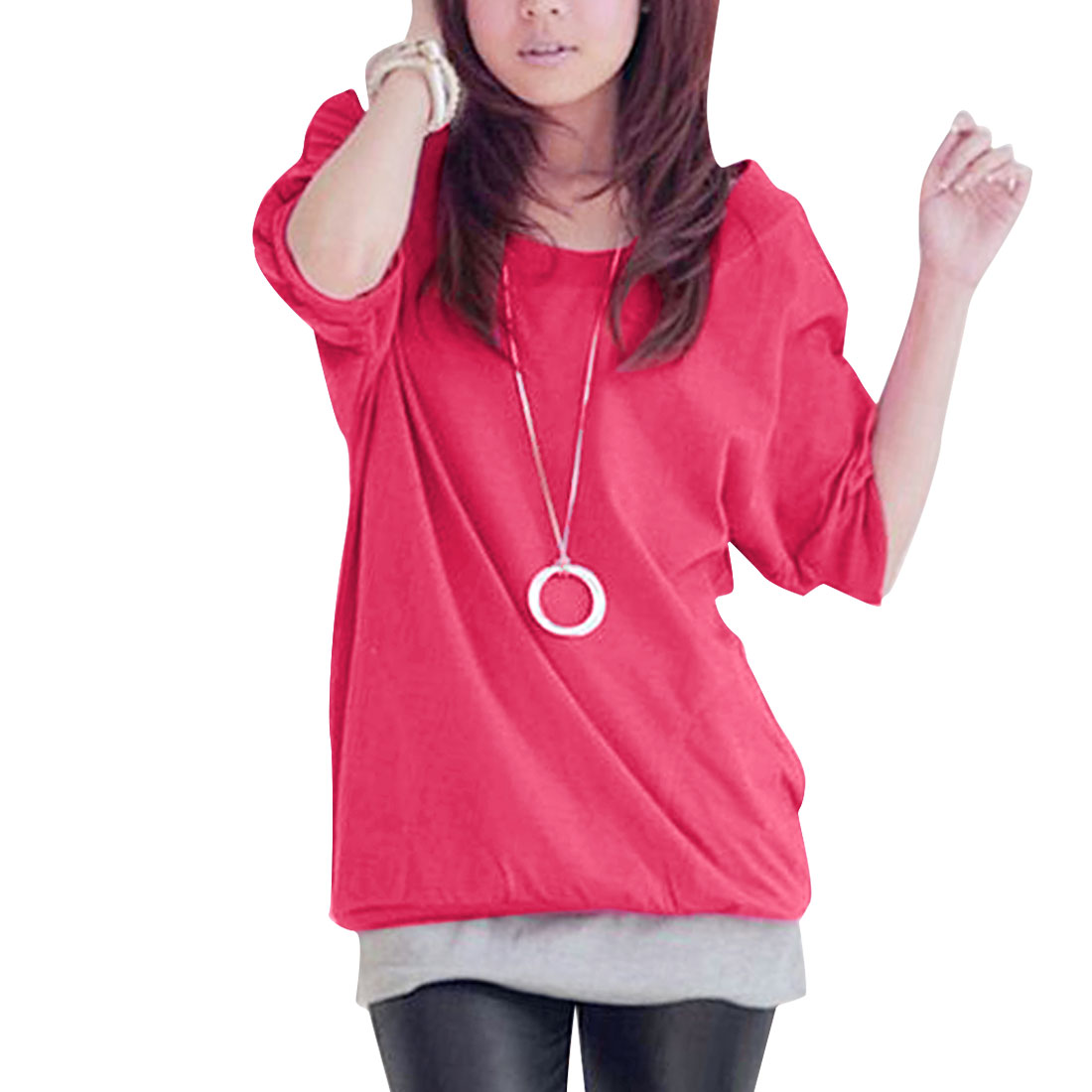 Summer Leisure Low Round Neck Solid Fuchsia XS T-shirt for Ladies