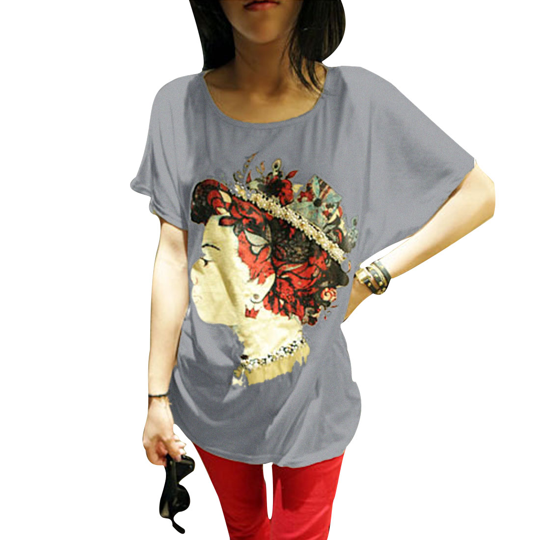 Ladies Pullover Gentlewoman Head Pattern Summer Leisure T-shirt Gray XS