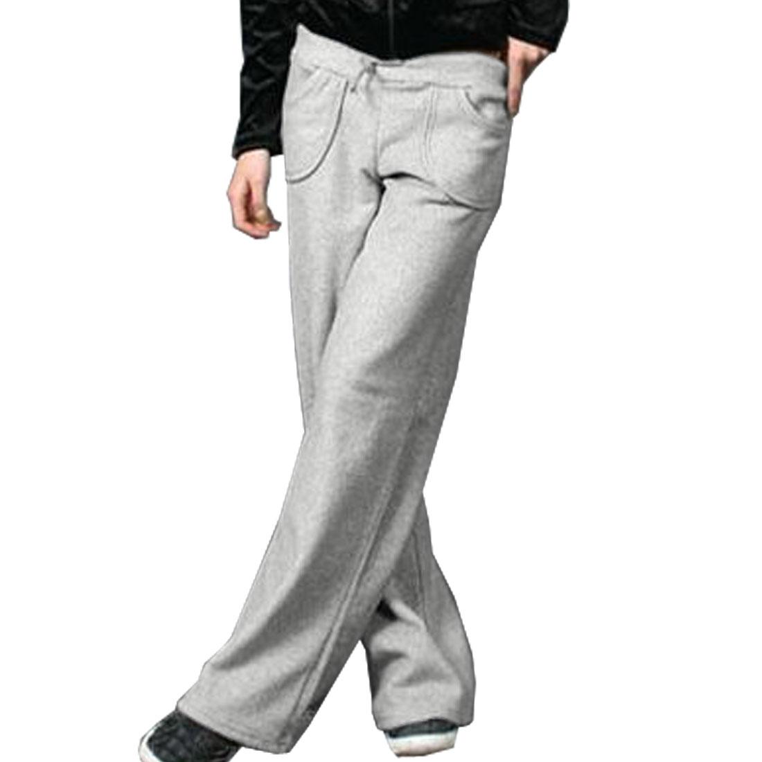 Woman Drawstring Elastic Waist Casual Pants Gray S