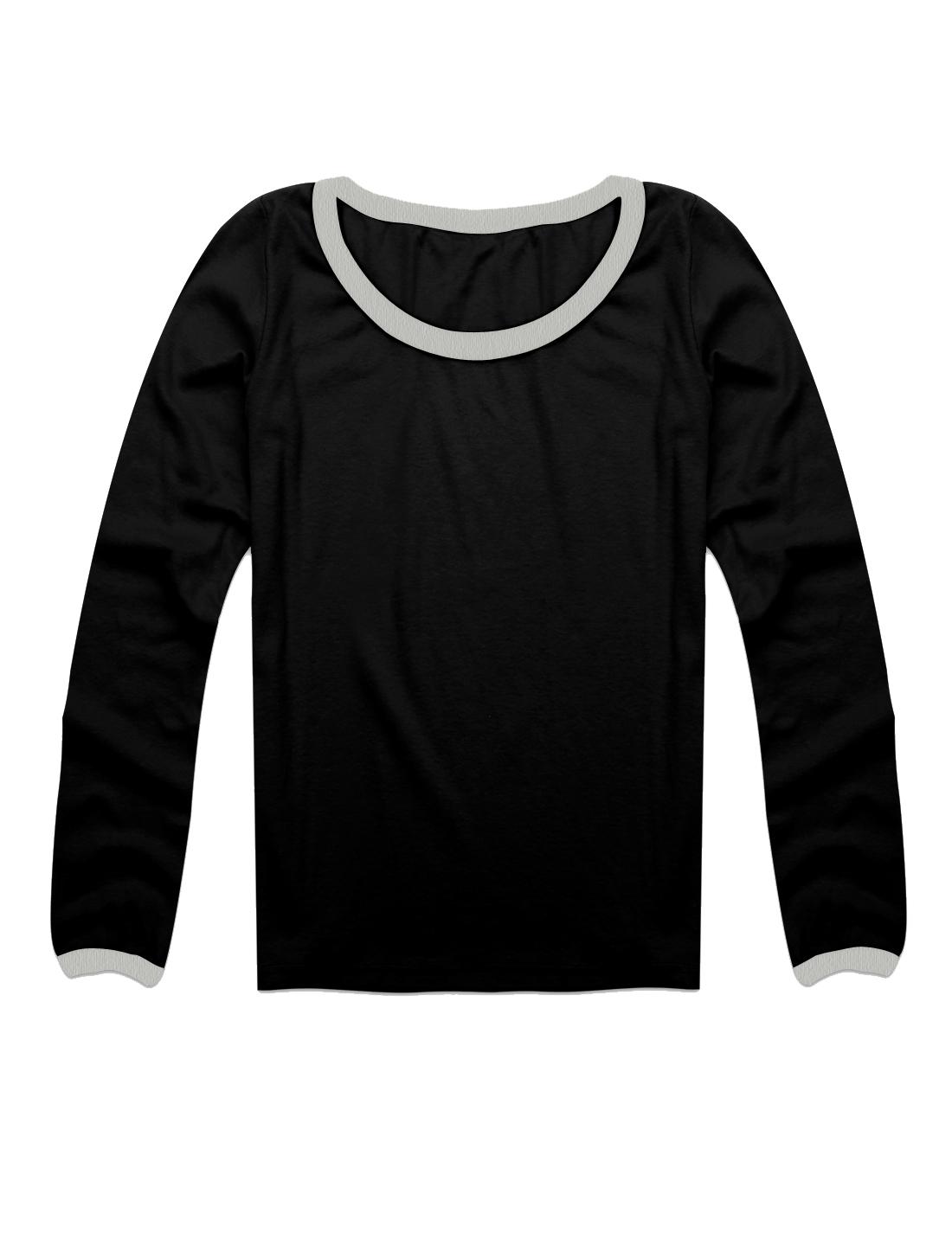 Women Korea Style Pullover Solid Black Formfitting Skivvi Blouse XS