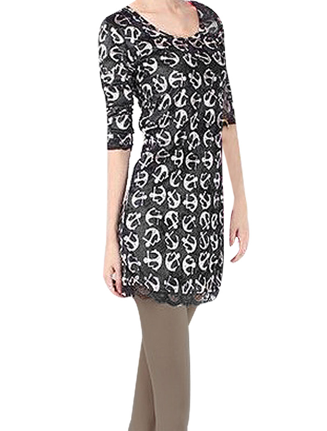 Woman White Axes Print Pullover aced Hem Formfitting Tunic T-shirt Black XS