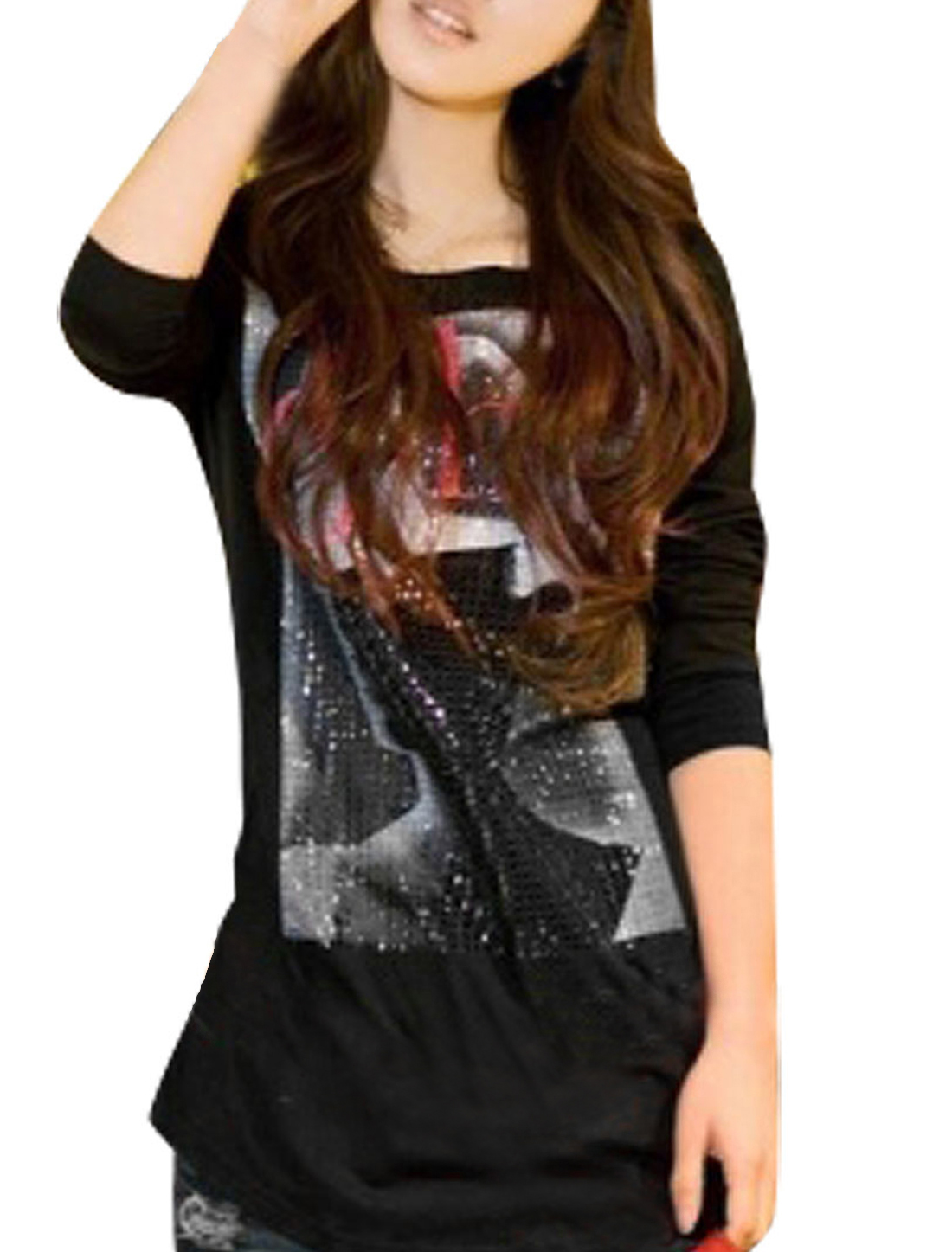Black Long Sleeves Round Neck Letter Pattern Casual Shirt XS for Ladies