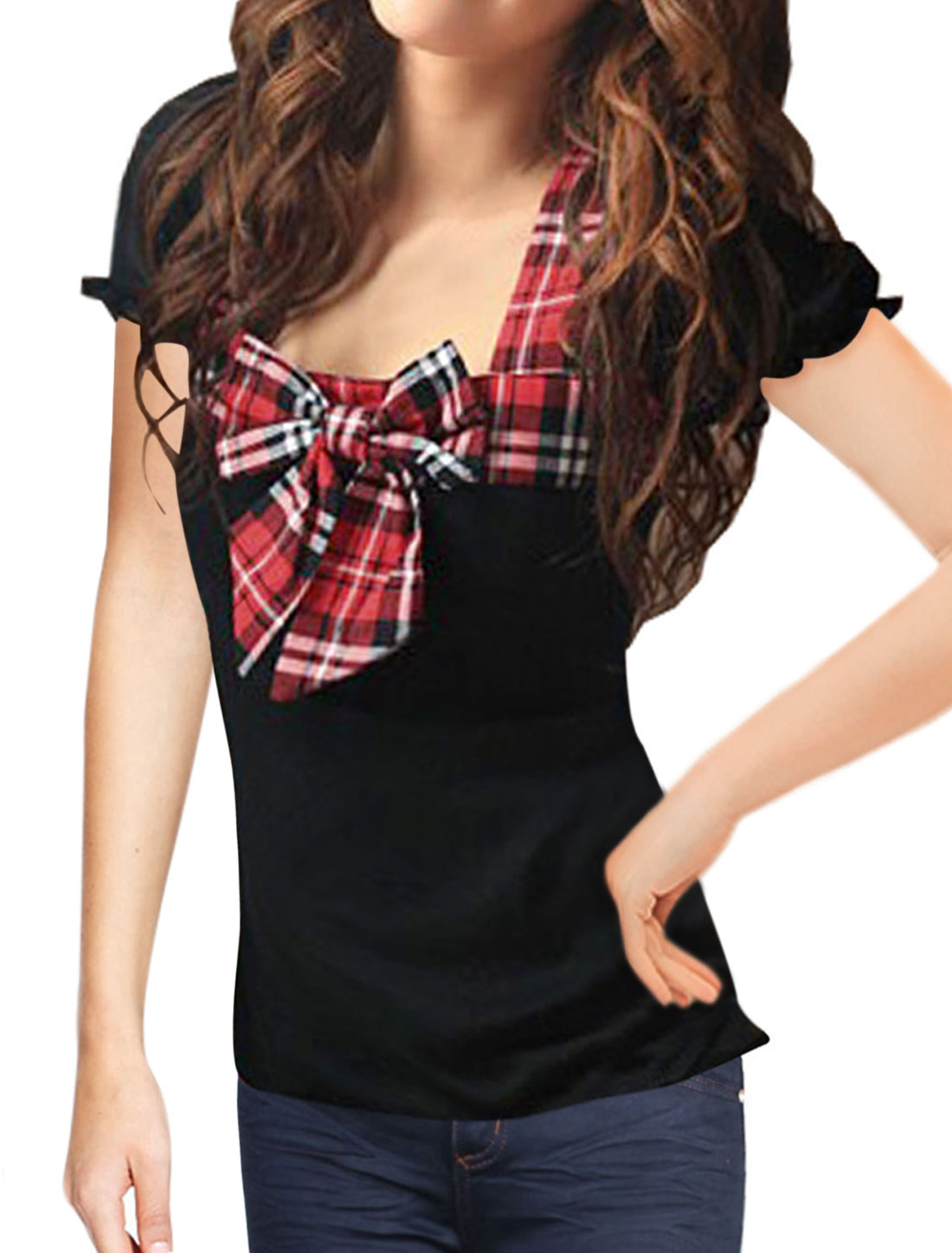 Woman Puff Sleeves Preppy Look Red Bowknot Detail Black Short T-shirt XS