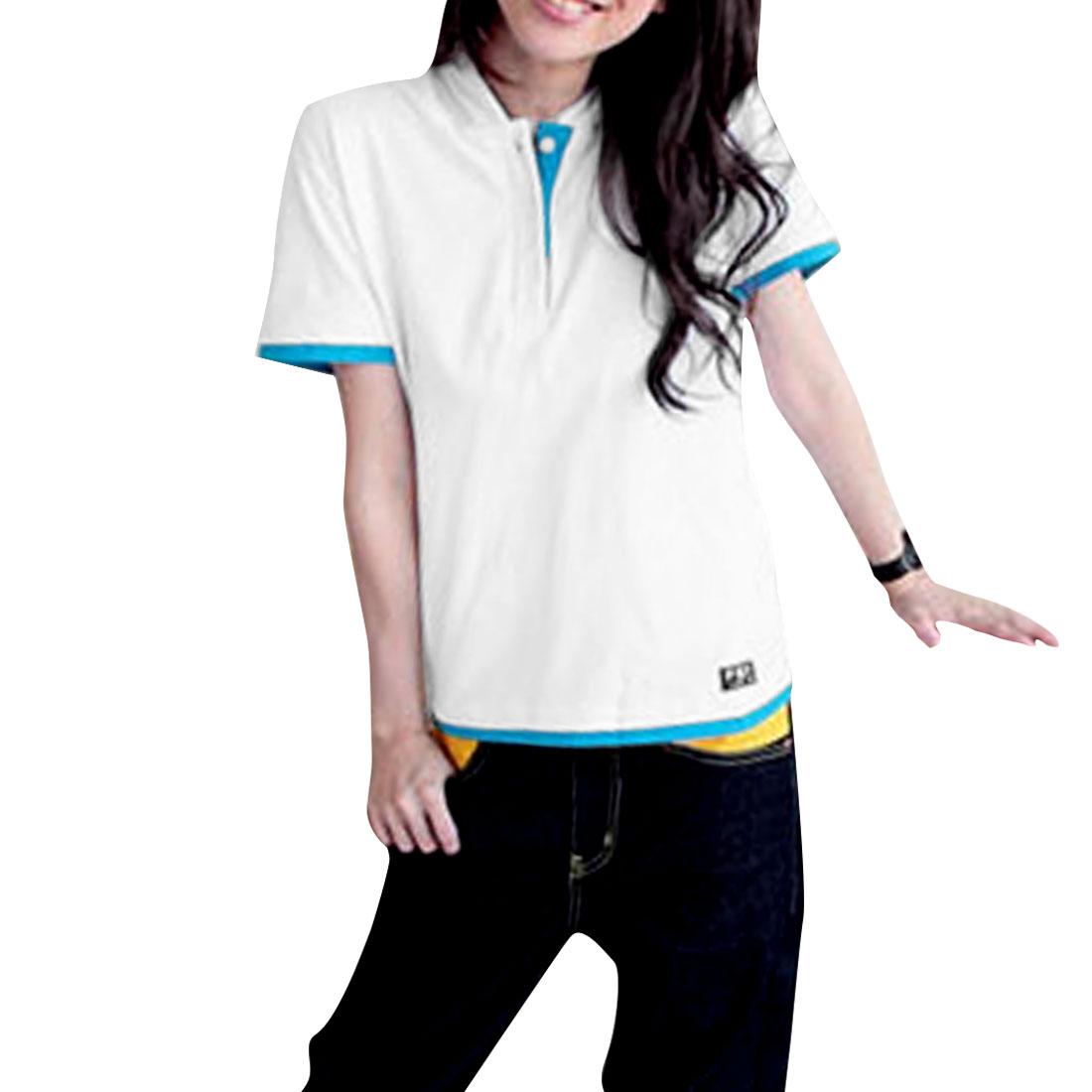 Ladies Short Sleeves Hoodie Shirt White Light Blue L
