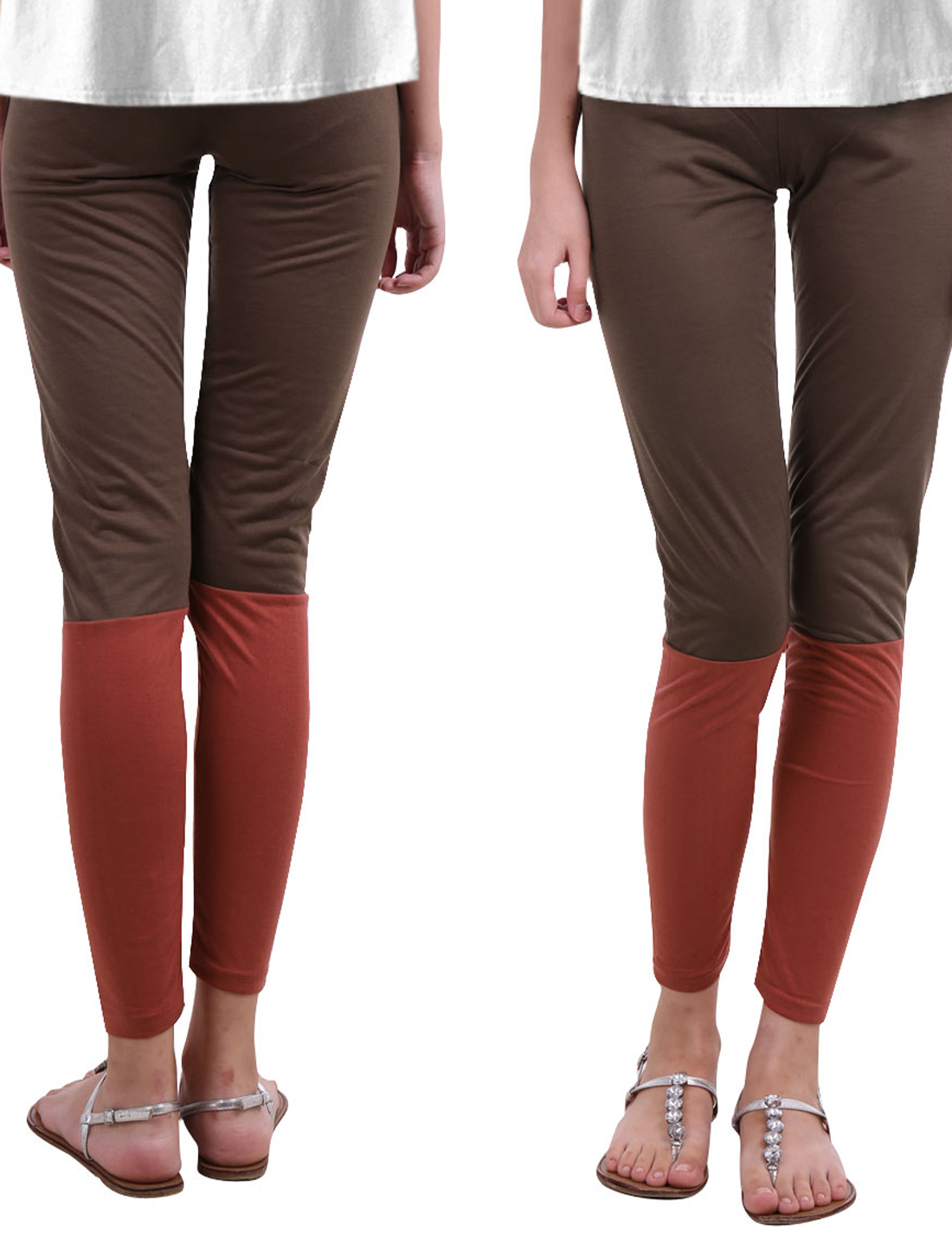 Woman Form-fitting Low Waist Splice Full Length Red Brown XS Leggings Pants