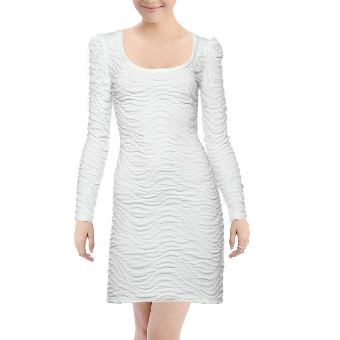 Women Low Round Neck Long Sleeves Wave Stripes Slim Dress White XS