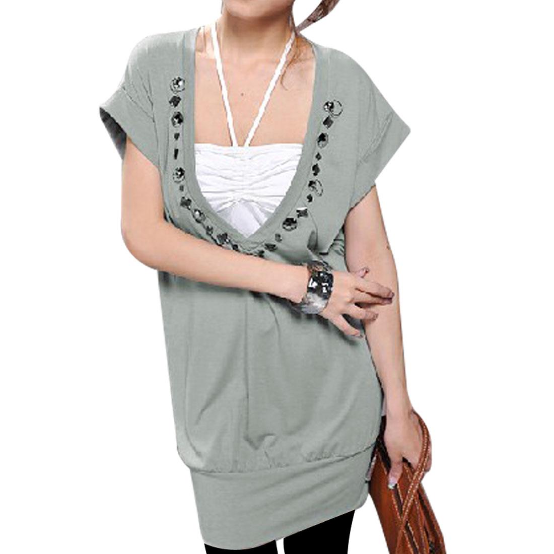 Ladies Pale Green Cap Sleeve Deep V Neck Shirt XS