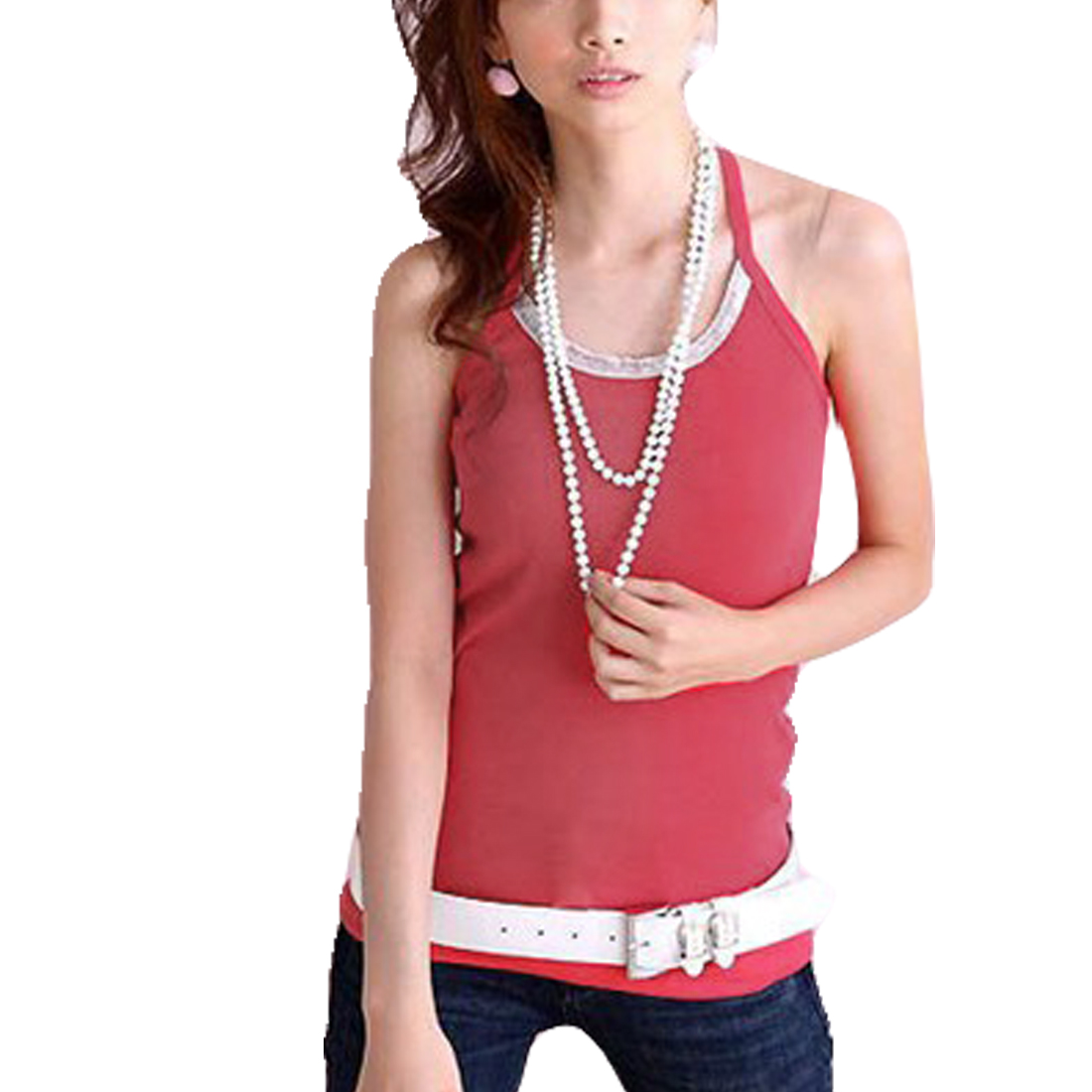 XS Ladies Pullover Sleeveless Spaghetti Strapes Tank Top Watermelon Red