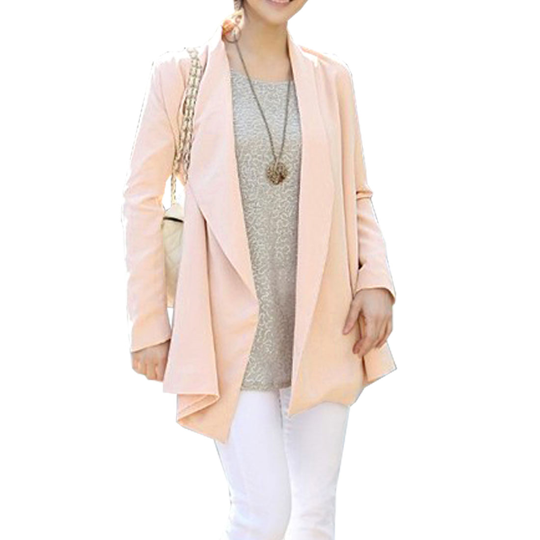 Korean Style Long Sleeves Irregular Lap Coat Pink XS for Women