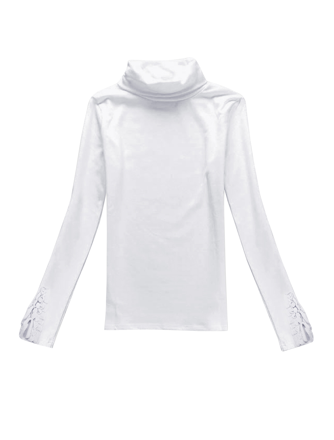 Woman Ruffled Cuffs Raglan Long Sleeves Shirt White XS
