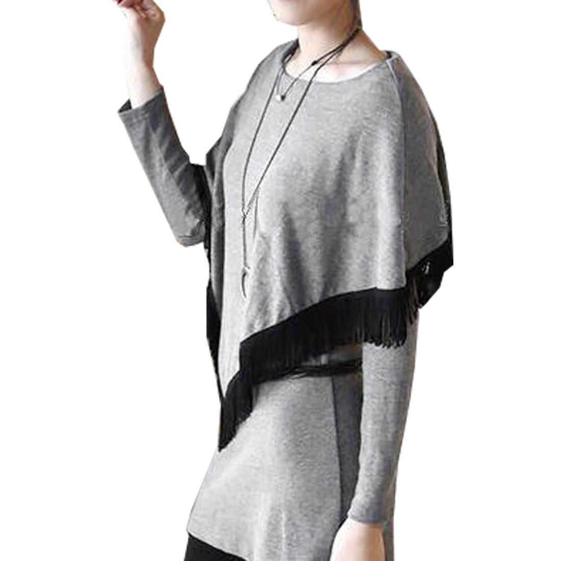 Lady Gray Round Neck Long Sleeve Shawls Embellished Blouses XS