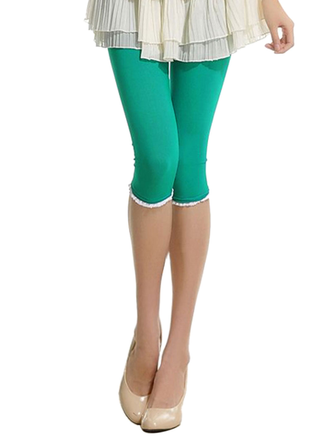 Woman White Ruched Hem Accent Elastic Waist Capri Tights Green S