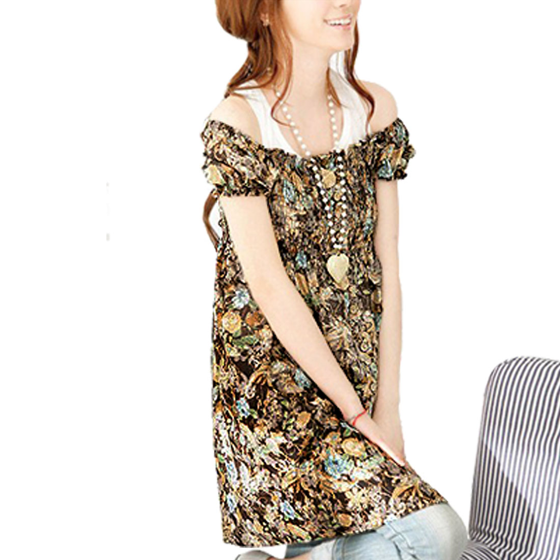 Ladies Dark Brown Florals Print Puff Sleeves Empire Dress XS