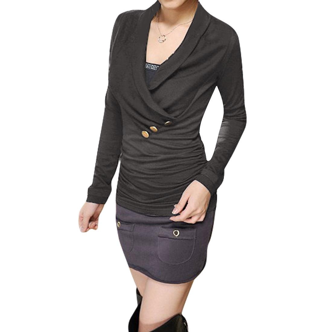 Women Long Sleeves Dark Gray Crossover V Neck Shirt S