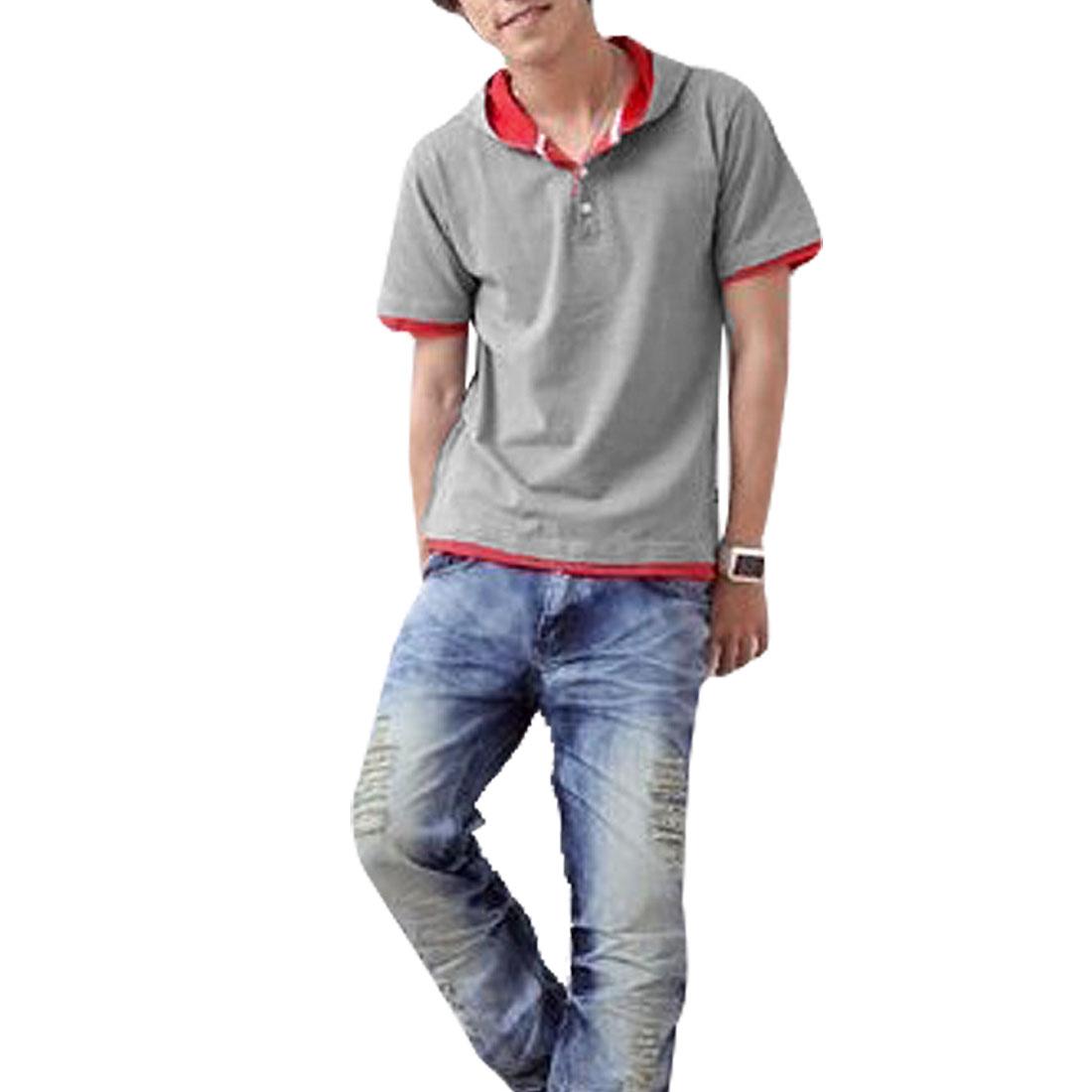 Man Short Sleeves Gray Red Hoodie Shirt Top S