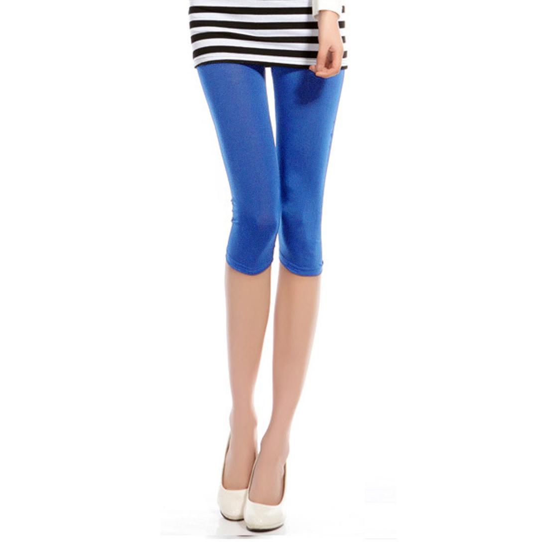Woman Blue Match Dress 3/4 Leggings Skinny Capris Pants Trousers XS
