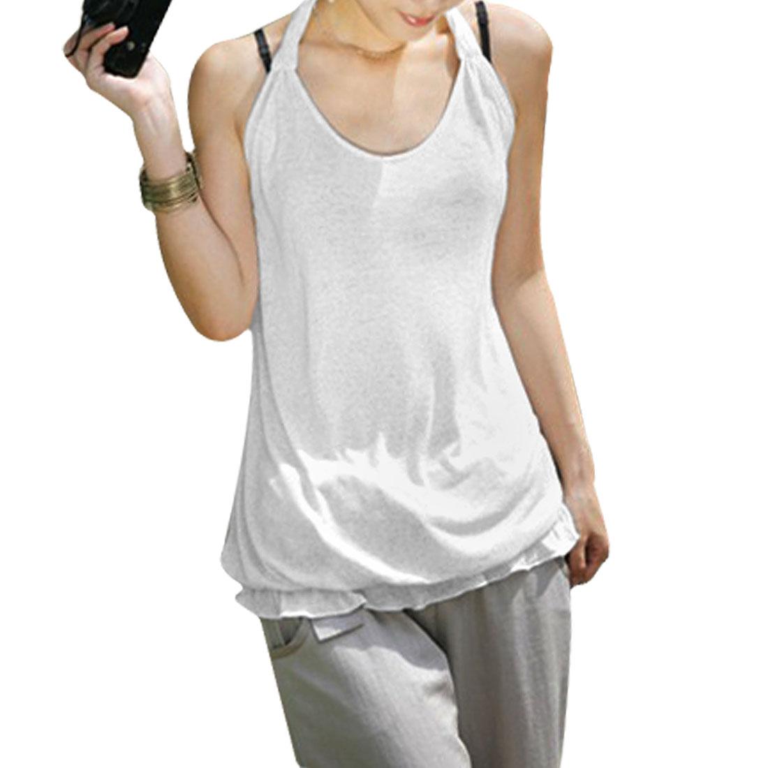 Ladies Light Gray Sleeveless Halter Neck Tank Top XS