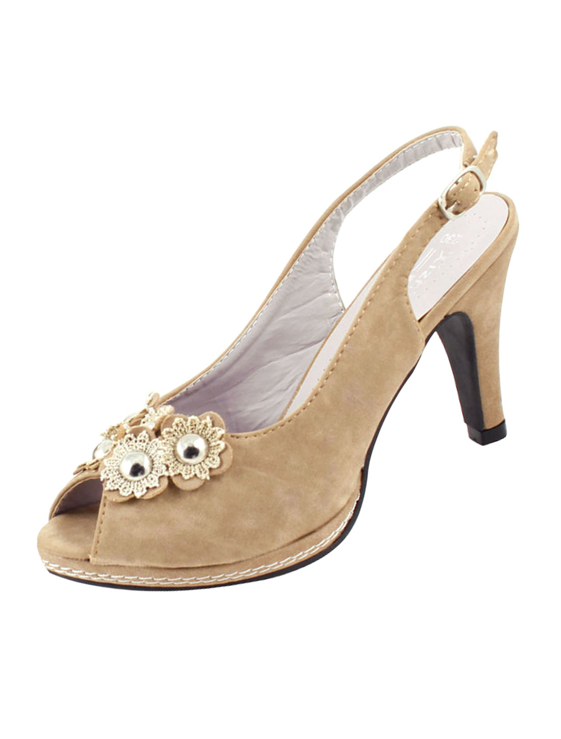 Woman Light Brown Faux Suede Lace Flower Decor High Heels Shoes US 7