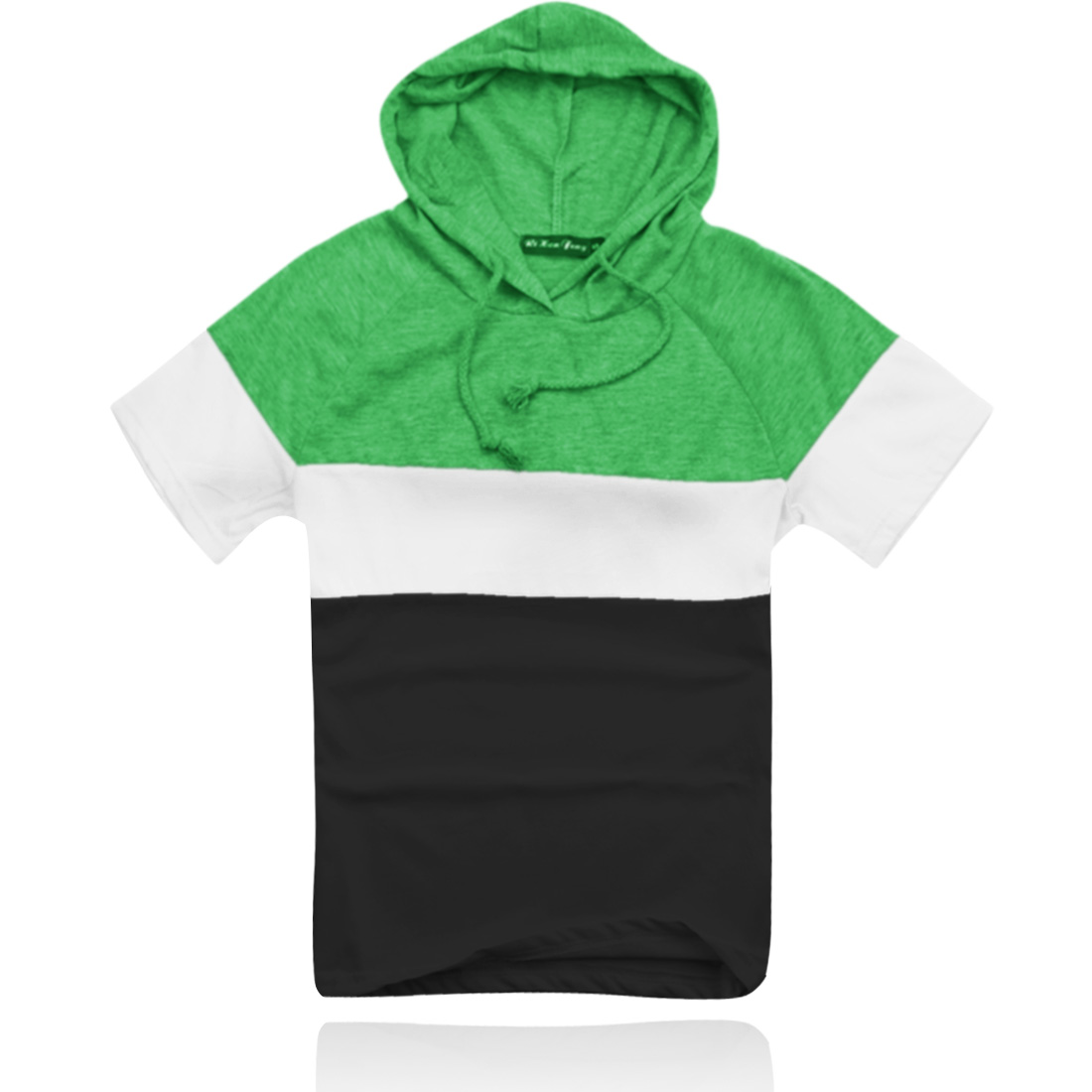 Boy Summer Green White Black Short Sleeves Hooded Shirt XL