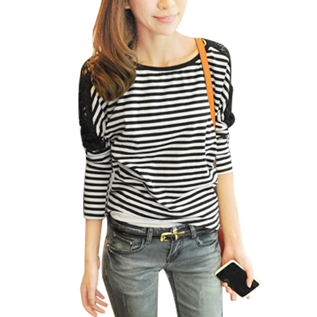 Autumn Low Round Neck Black White Stripes Print T-shirt XS for Women