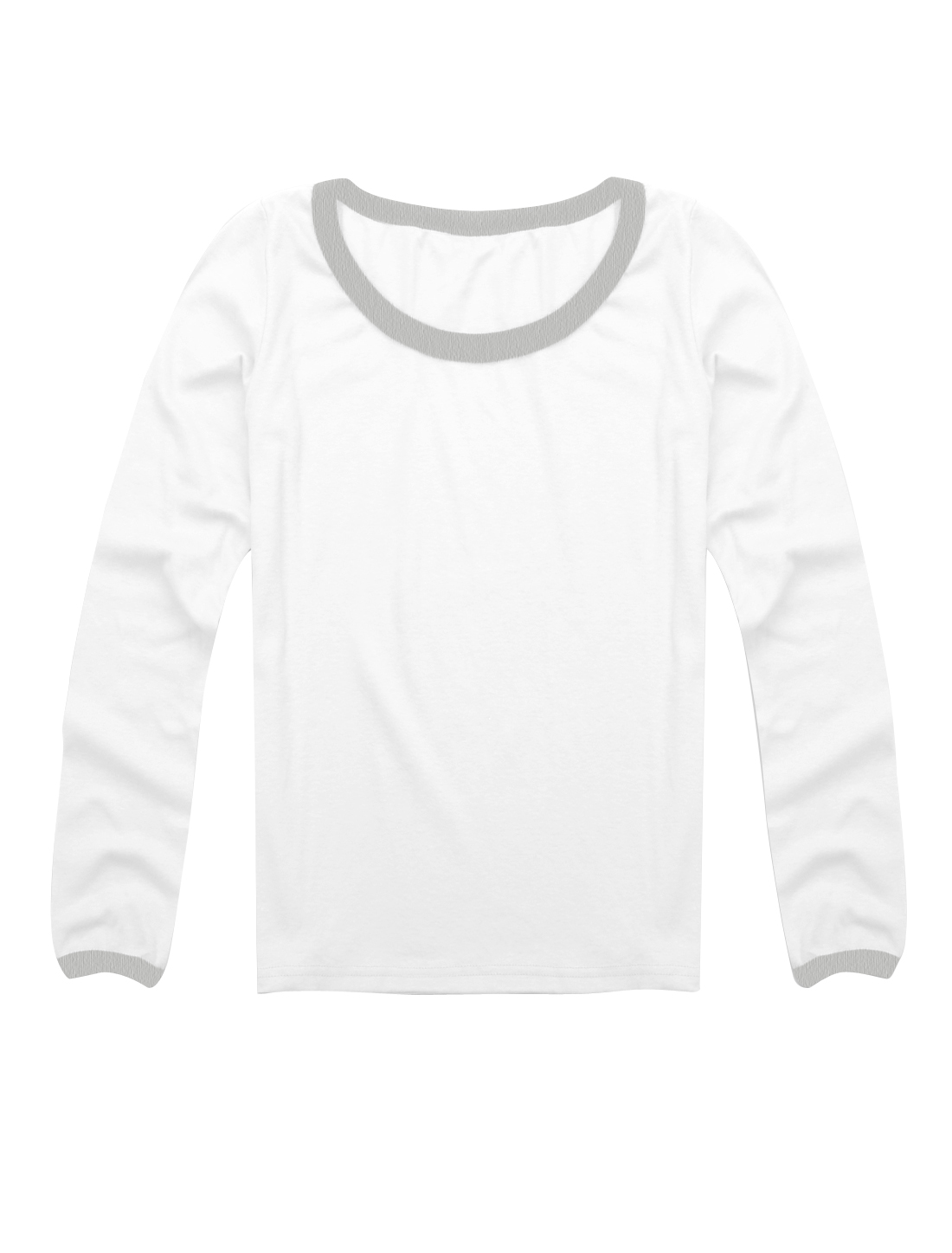 Low Round Neck Long Sleeves Closefitting Skivvi Shirt White XS for Ladies