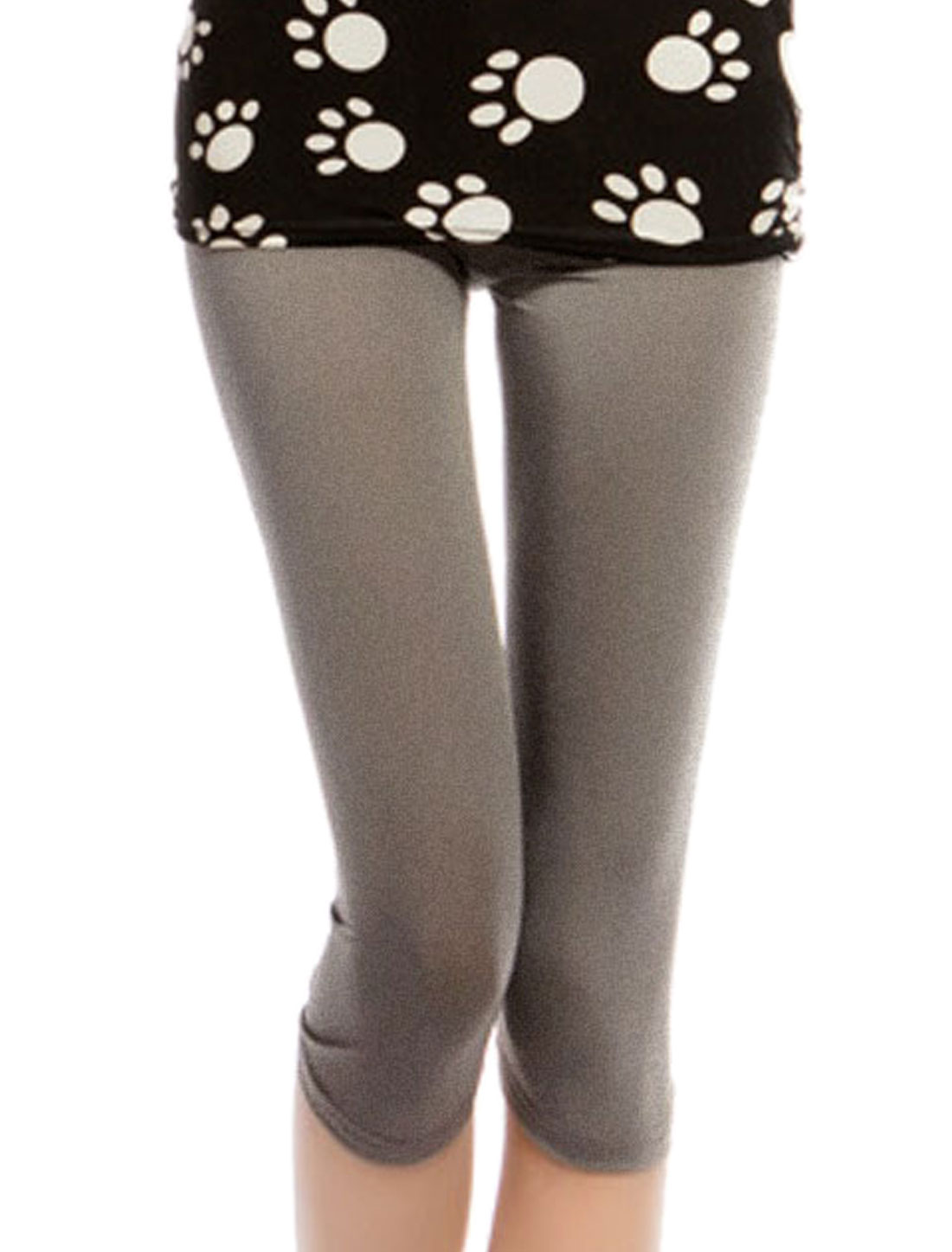 Woman Elastic Waist Dark Khaki Capri Pants Leggings XS