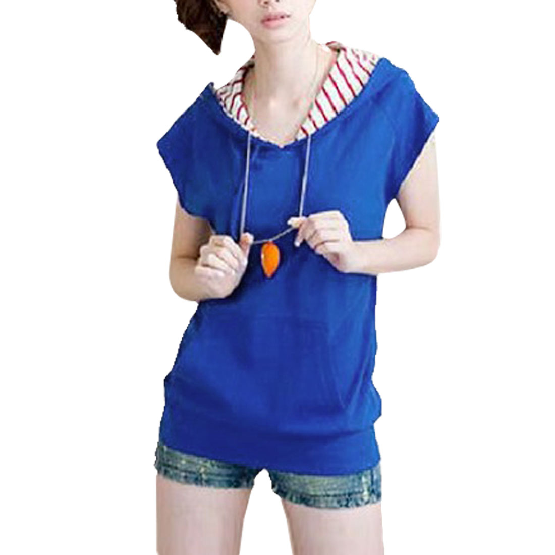 Summer Cap Sleeves Drawstring Hoodie T-shirt Royal Blue XS for Women