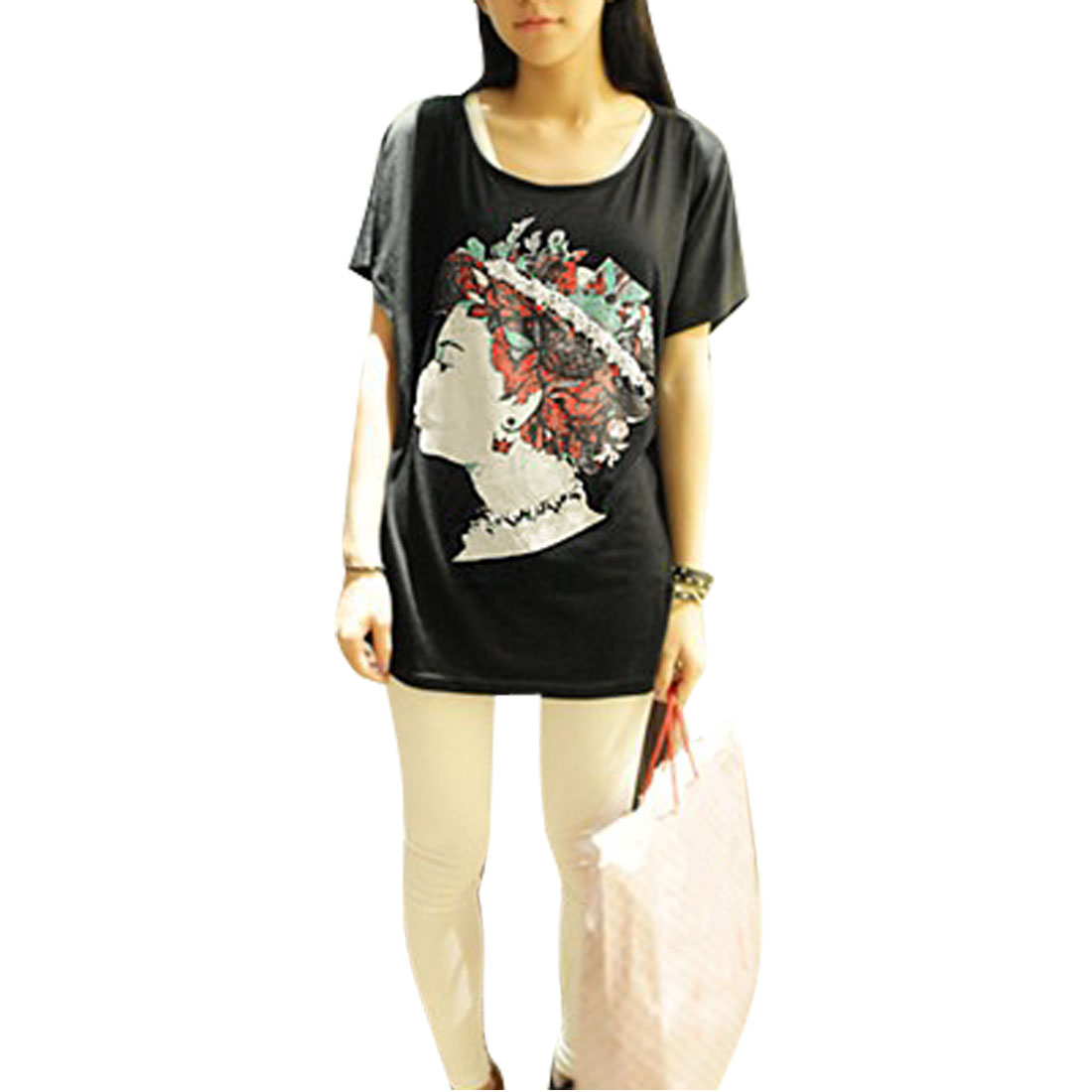 Plastic Beeds Inlaid Solid Black Bawting Sleeves T-shirt XS for Women