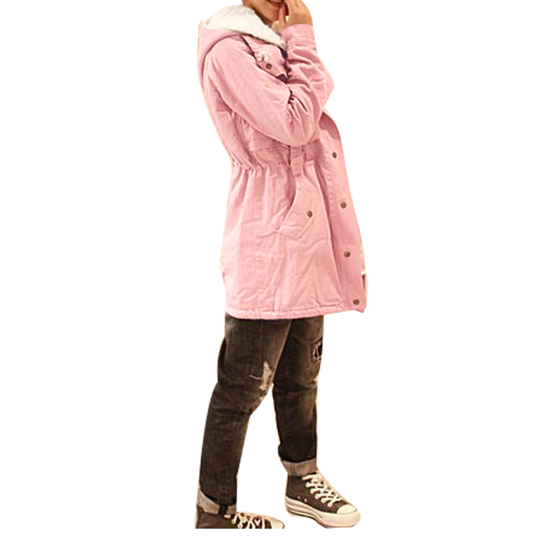 Women Turtleneck Long Sleeves Plush Lining Detachable Hooded Coat Pink XS