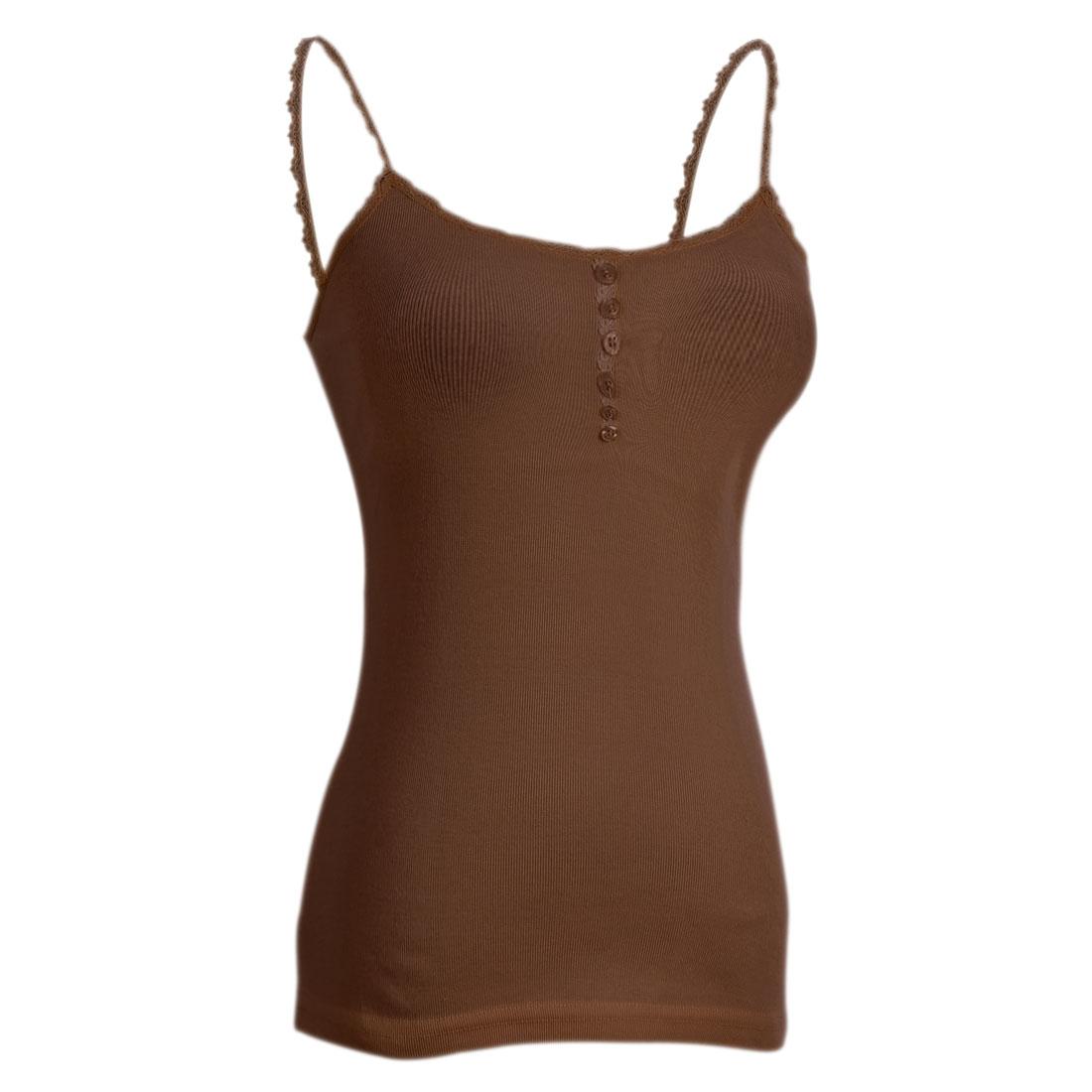 Ladies Single Breasted Decor Elastic Spaghetti Straps Vest Coffee Color XS