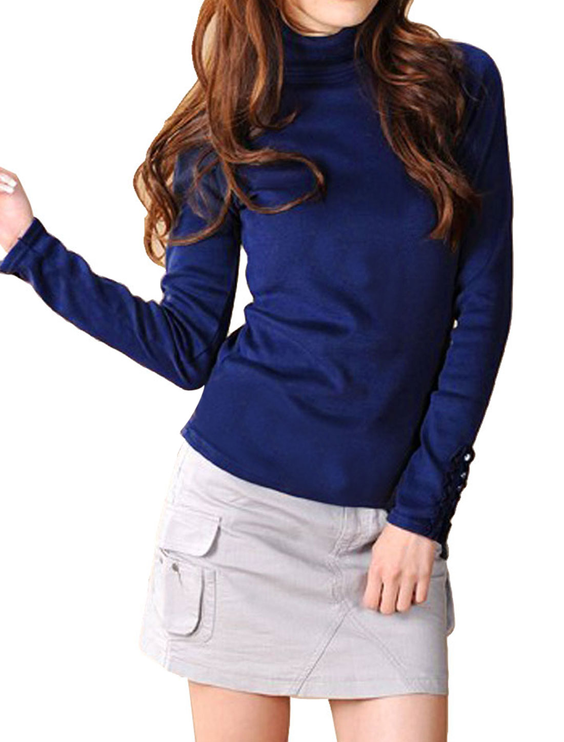 XS Royal Blue Pullover Long Sleeve Closefitting Shirt for Woman