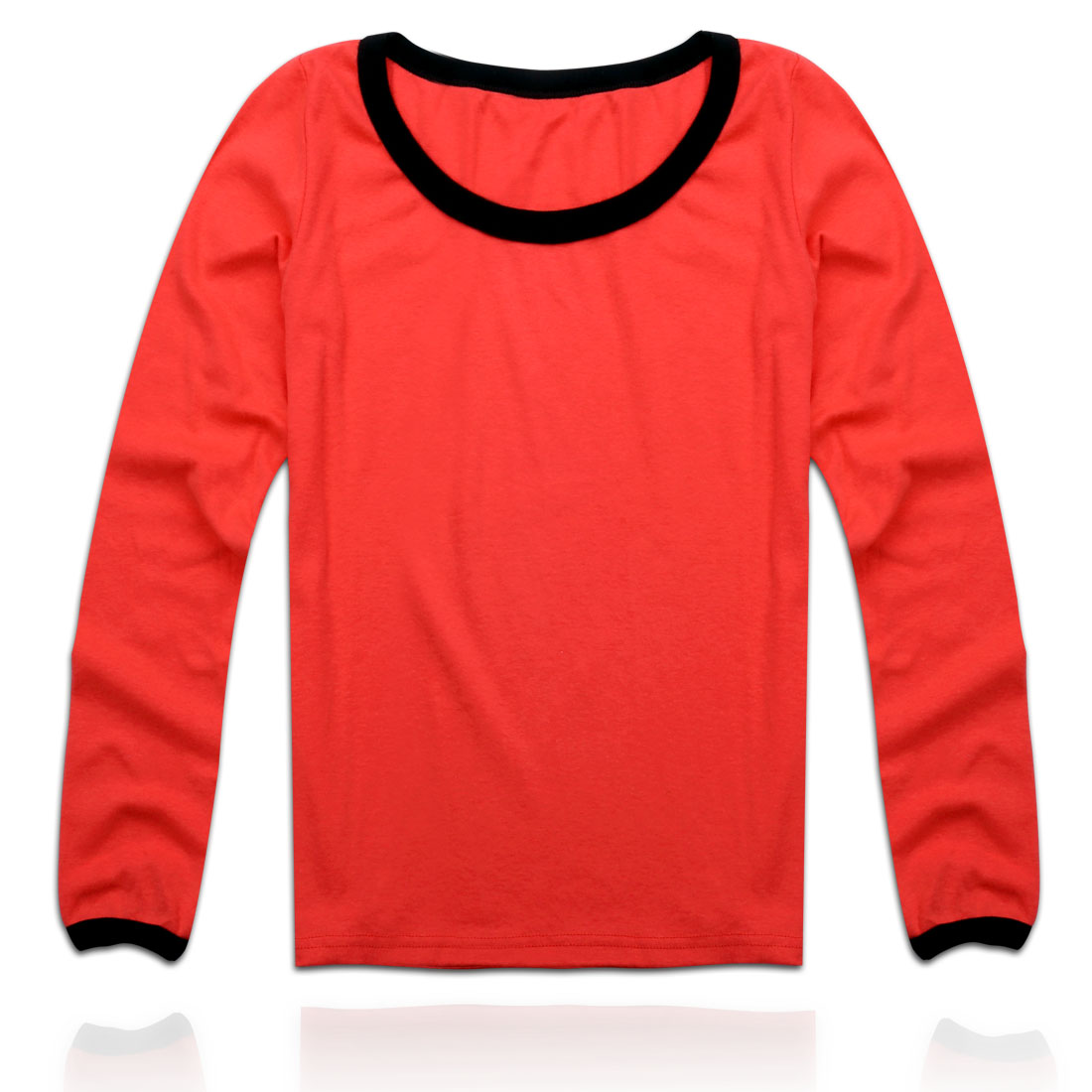 Woman Simple Casual Round Neck Elastic Skivvi Shirt Orange Red XS