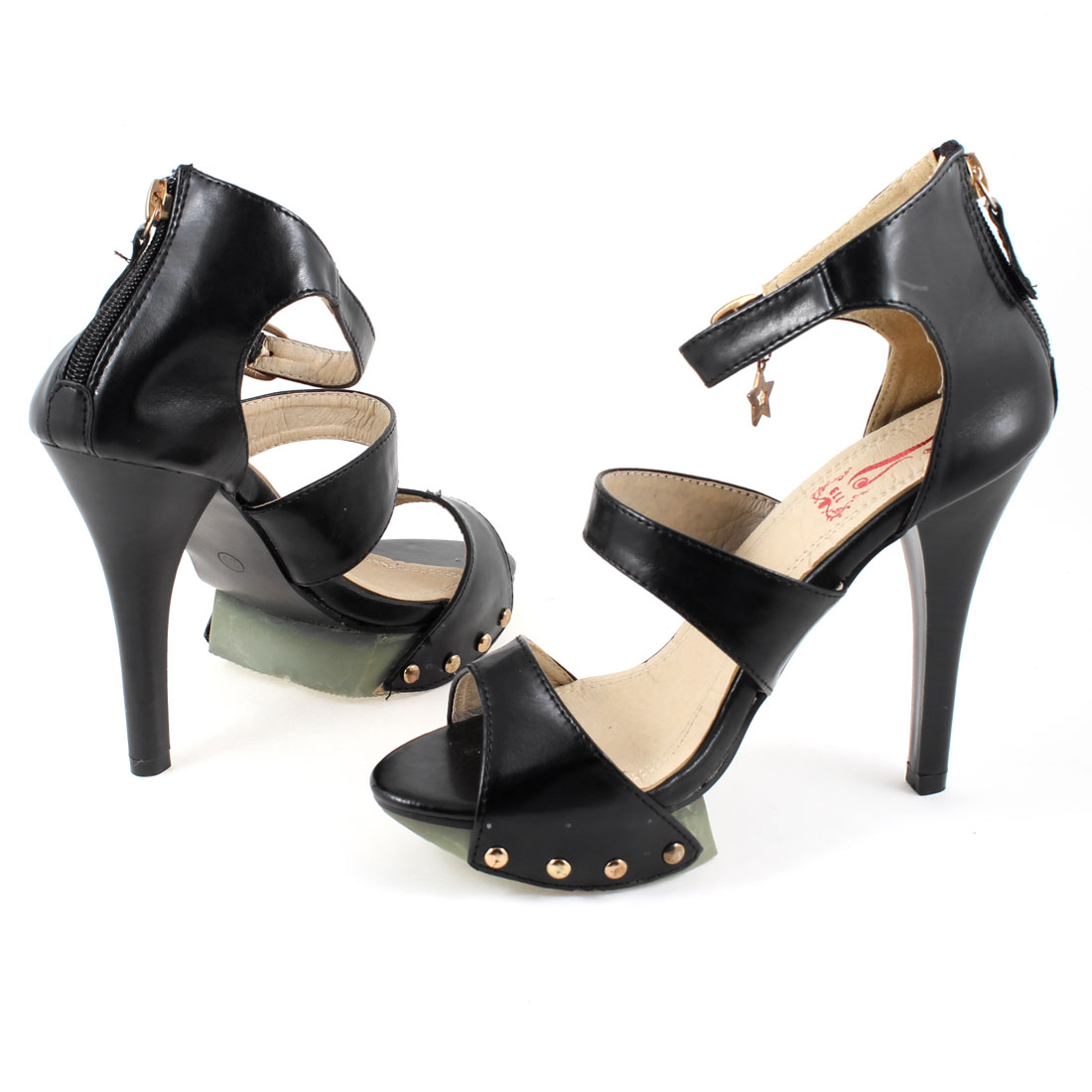 Women Stiletto Heels Fashion Thin High Heel Star Buckle Sandal Shoes Black US 7