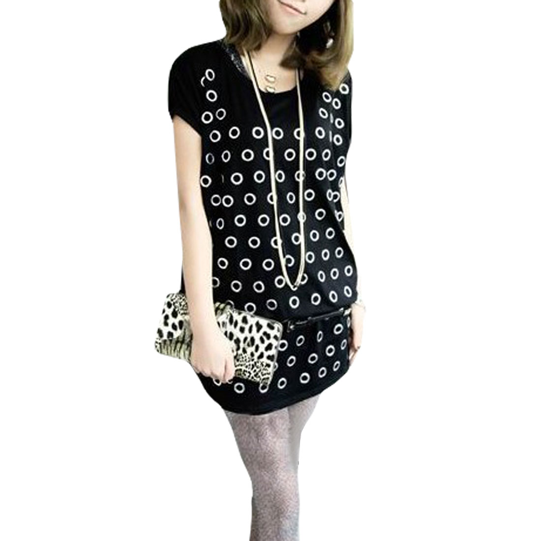 Circles Pattern Round Neck Pullover Casual Blouse Black M for Ladies