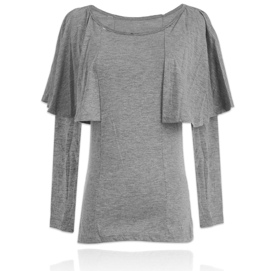 Autumn Leisure Round Neck Long Sleeves Pure Gray T-shirt XS for Women