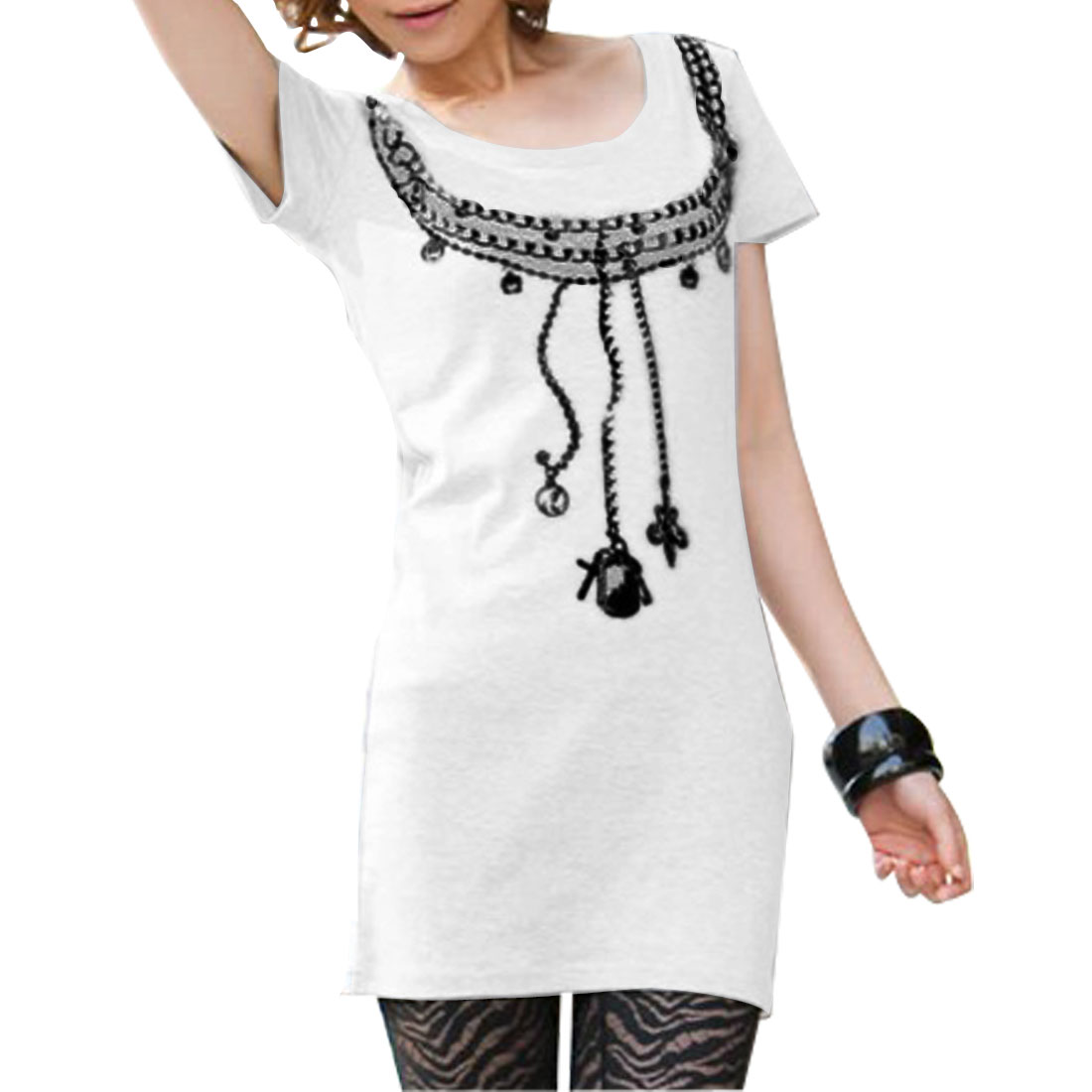 Ladies Pullover Short Sleeves Necklace Printed Casual Tunic T-shirt White XS