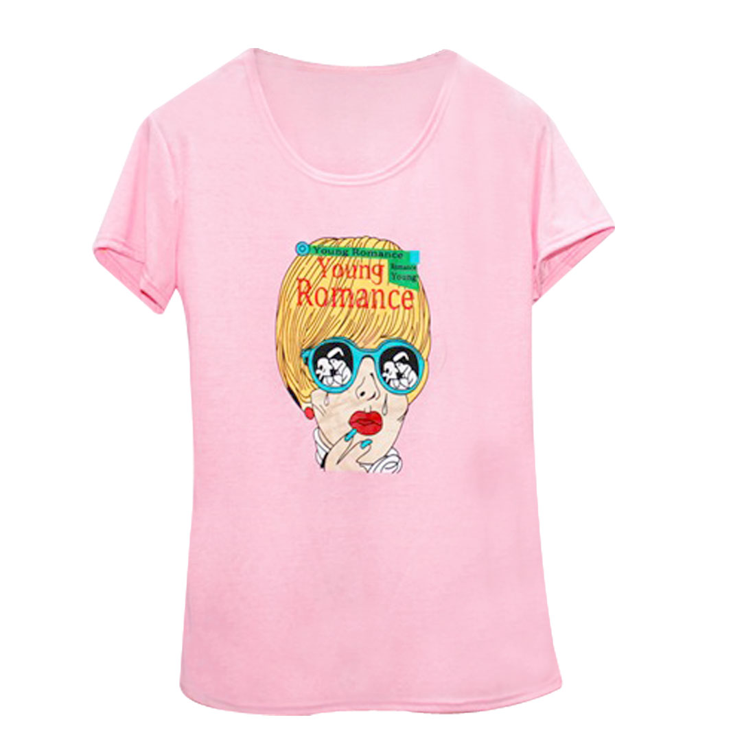 Women Short Sleeves Crying Glasses Lady Printed T-shirt Pink XS